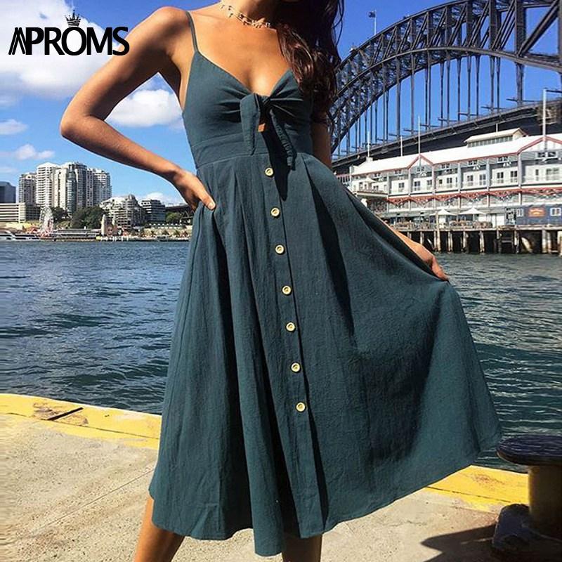 Aproms Cute Bow Tie Front Midi Dress Women Elastic Backless Summer Dress Female Buttons White Streetwear Sundresses 2018 Vestido