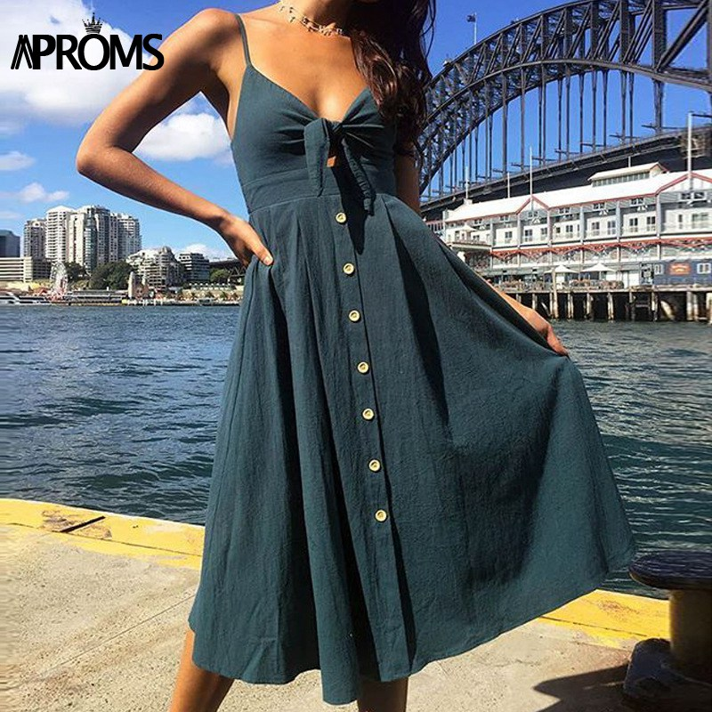 Aproms Cute Bow Tie Front Midi Dress Women Elastic Backless Summer Dress Female Buttons White Streetwear Sundresses 2018 Vestido