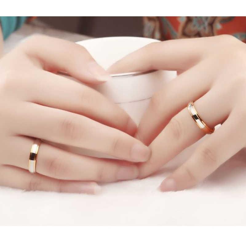 Simple Silver Gold Splicing คู่แหวนผู้หญิงไทเทเนียมแหวนคนรักผู้หญิงหมั้นชุบทองแหวนเครื่องประดับ
