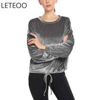 LETEOO Drawstring Hem Velvet Tops 2017 Autumn Women Clothing Casual Basic Tee O Neck Long Sleeve