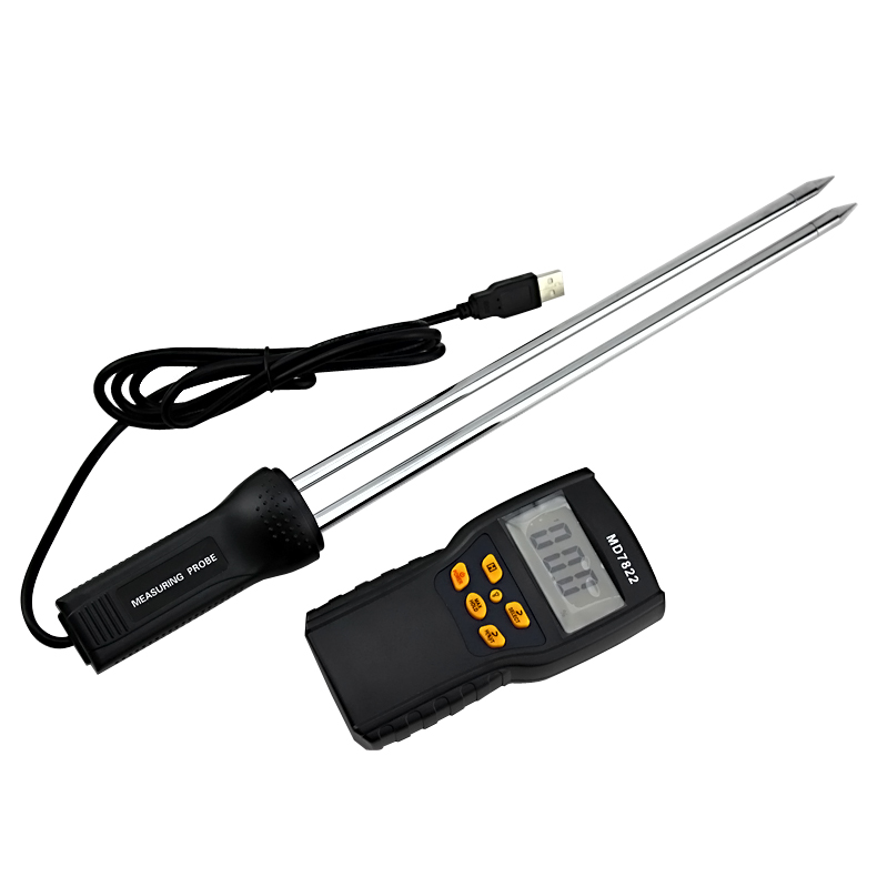 Food Digital Moisture Meter Intelligent Grain Moisture Measuring Instrument Super Long Probe Hygrometer Humidometer Humidity digital indoor air quality carbon dioxide meter temperature rh humidity twa stel display 99 points made in taiwan co2 monitor