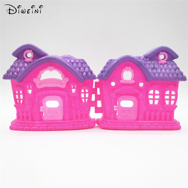 Fantasy Doll House Plastic For Barbie Dolls Pink House Purple Proof