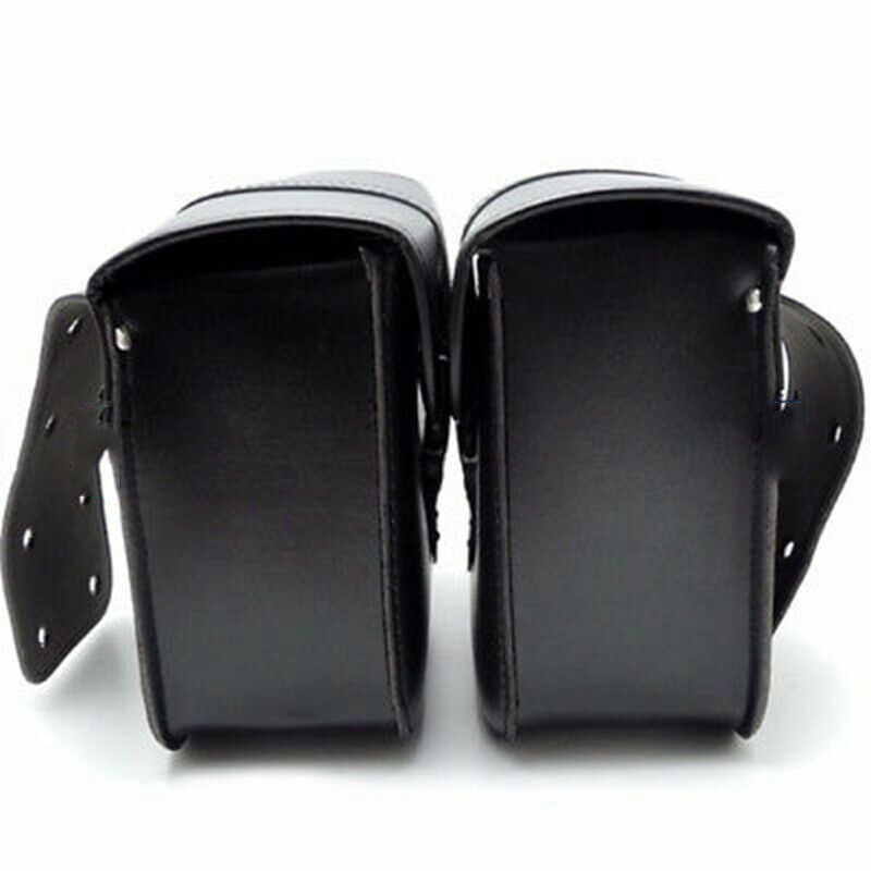 2Pcs Motorcycle Bags Black Poly Urethane Leather Weatherproof General Motorcycle Adjustment Left And Right Quality Saddle Bags