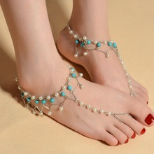 bohemian anklets for women foot jewelry bracelet vintage simulated pearl turquoise anklet beach ankle bracelet cheville