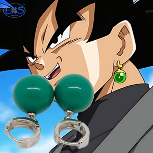 (LONSUN)Dragon Ball Son Goku And Vegeta Potara Fit the Earring Black Son Goku Zamasu Time Ring Cosplay Props Collection Toy(China)