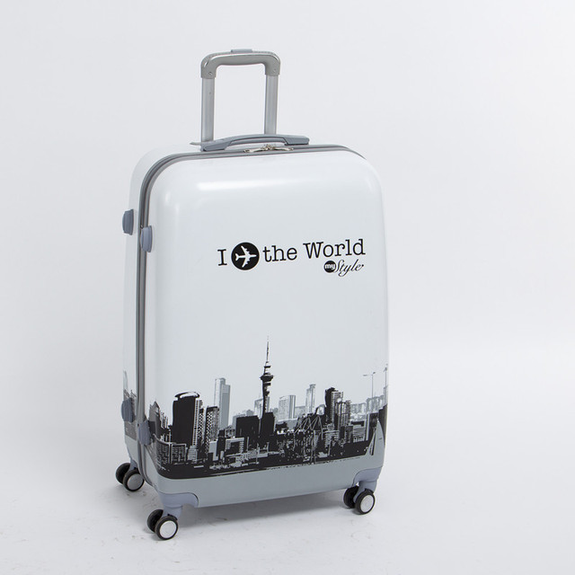 Wholesale!man and woman 28 inch pc the world travel luggage bags on universal wheels,high quality plane printed luggage bags
