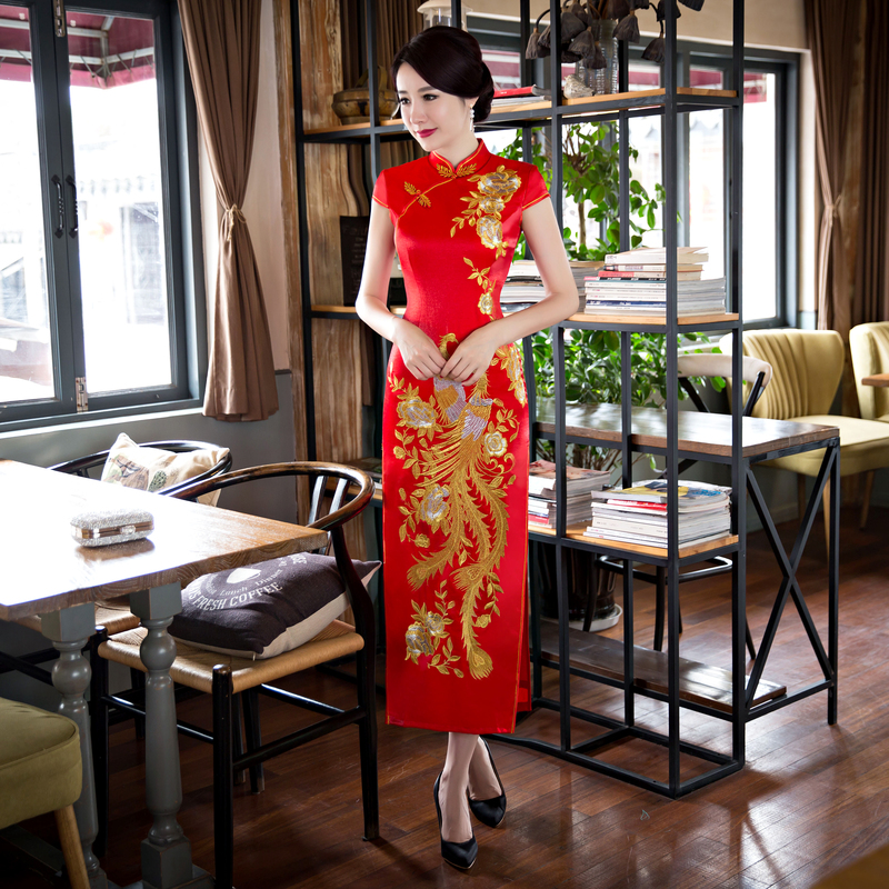Red Long Style Women's Satin Cheongsam Hot Sale Traditional China Qipao Vestido Elegant Dress Size S M L XL XXL XXXL 6X5818 hot sale creative style s size women s hair tool
