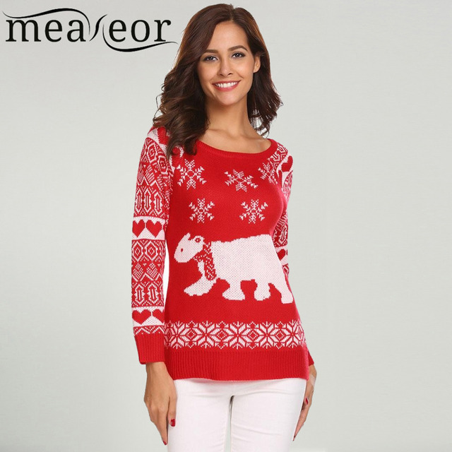 meaneor women christmas sweater casual o neck long sleeve bear snowflake printed christmas warm soft - Womens Christmas Sweaters