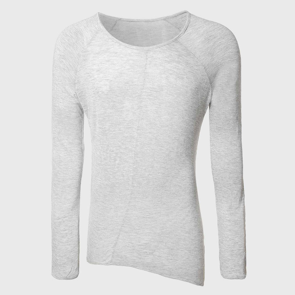 Fashion Longline T-<font><b>Shirts</b></font> <font><b>Men</b></font> Long Sleeve Round Neck Line Top Tees <font><b>Sexy</b></font> Extend T <font><b>Shirt</b></font> <font><b>Gay</b></font> Tall Asymmetrical Hem image