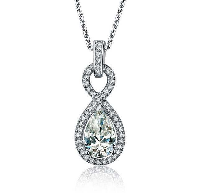 2 carat pear shape halo style real sona synthetic diamonds 2 carat pear shape halo style real sona synthetic diamonds engagement pendant necklace statement anniversary day gift for her in pendants from jewelry aloadofball Image collections
