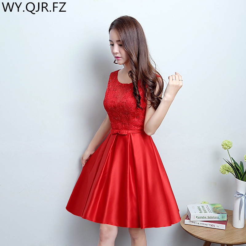 ec92e17802 Compra red bow bride short bridesmaid dresses y disfruta del envío gratuito  en AliExpress.com