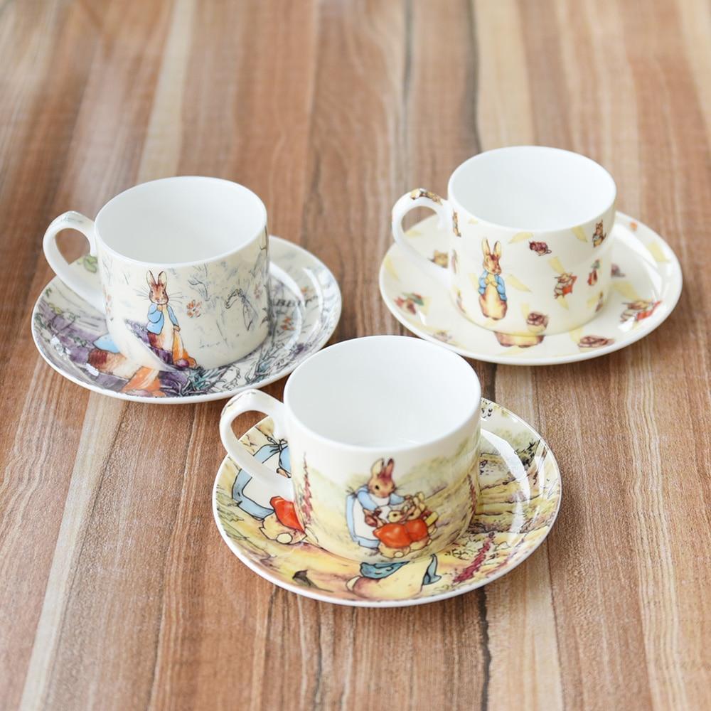 Rabbit coffee cups and saucers Animal coffee tea set snack red /black tea gift set