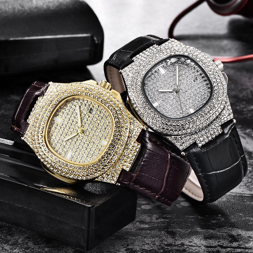 Men Wristwatch Bling Fully Rhinestone Quartz Iced Out Gold Silver Diamond mens watches man watch 2019 male clock