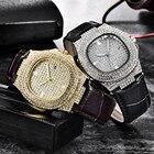 Men Wristwatch Bling Fully Rhinestone Quartz Iced Out Gold Silver Diamond mens watches man watch 2019 male clock