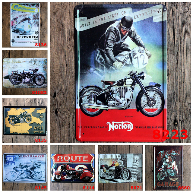 Us 8 55 Hot Road Power Motorcycle 72 Uk Norton Built Wall Poster Motor Metal Tin Signs Garage Retro Decor Wall Painting Plaque In Plaques Signs