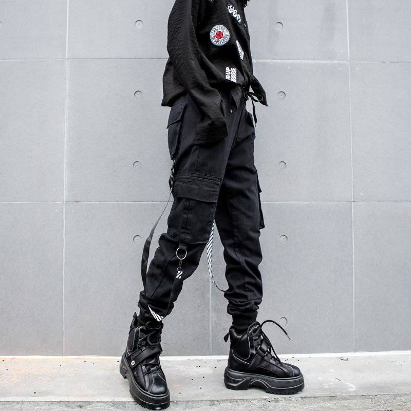 Black Cargo Pants Women Patchwork Loose Streetwear Pencil Pants Fashion Cool Hip Hop Women's Trousers Casual High Waist Pants