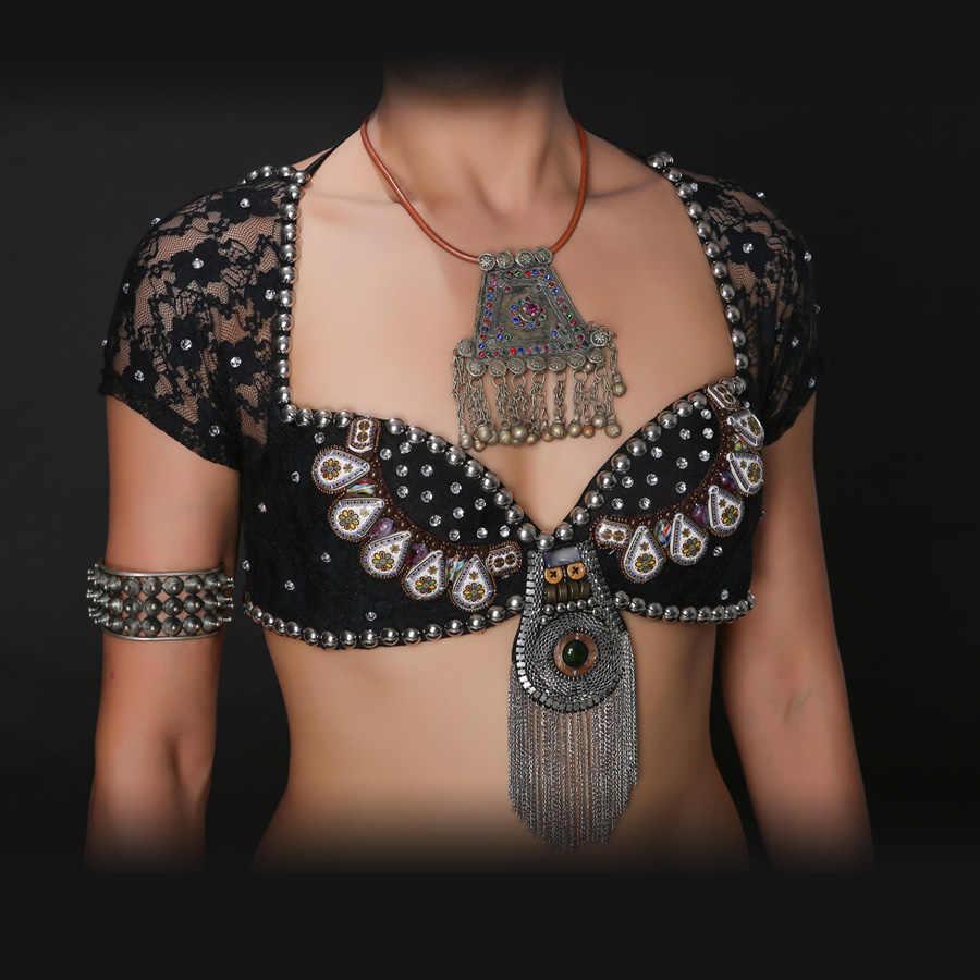 Baru 2018 ATS Suku Tari Perut Bra Atasan Kancing Logam Push Up Beadsbra B/C Cup Vintage Koin Top gypsy Dance Bra Renda