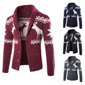 2016Brand Knitting Winter Coat Men Cardigan Outerwear Jacket Casacos Vintage Windproof Mens Parka Christmas Overcoat Clothing