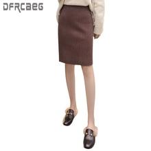 2019 Autumn Winter Elastic Waist Pencil Skirt Slim Fit Office Lady Woolen Skirts High Waist Female Skirts Midi Skirt Faldas saia