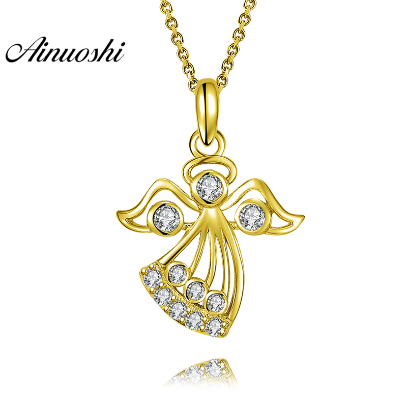 AINUOSHI 10K Solid Yellow Gold Pendant Litter Angel Pendant SONA Diamond Women Men Jewelry Adorable Angel 1.9g Separate Pendant цена и фото