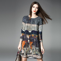 Women's 100% SILK Vintage Printing Elegance A Style Dress for Spring Summer Autumn 3 Seasons