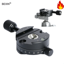 TD 360 Degree Panoramic Panning Base Head Clamp 1/4 Quick Release Plate for Tripod DSLR Camera sunwayfoto ddh 07 tripod head quick release clamp for dslr ballhead panoramic panning release clamp with arca plate