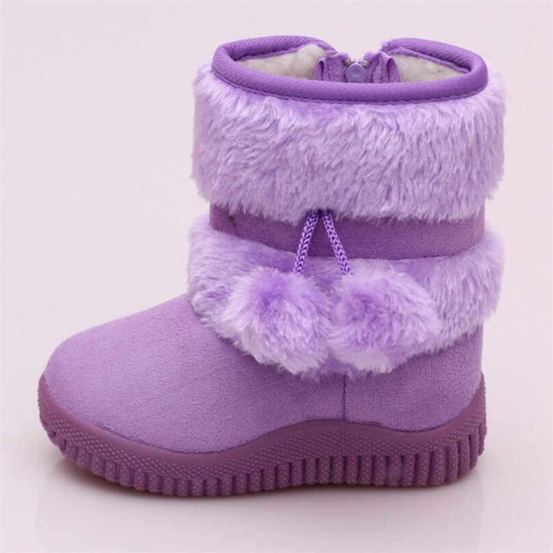Winter Pluche Baby Meisjes Snowboots Warme Schoenen Platte Met Baby Peuter Schoenen Outdoor Snowboots Meisjes Kinderen Booties