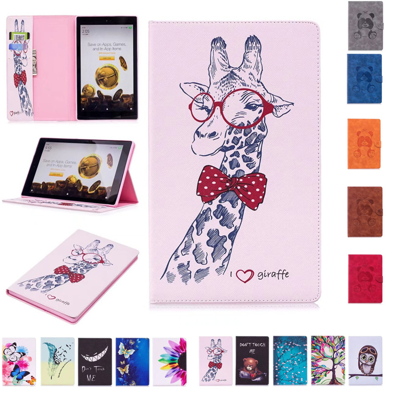 For Amazon Kindle Fire HD 10 2017 2015 Generation Tablet Bag Case Print Folio PU Leather Stand Flip Cover Protector Skin Funda cartoon painted flower owl for kindle paperwhite 1 2 3 case flip bracket stand pu cover for amazon kindle paperwhite 1 2 3 case