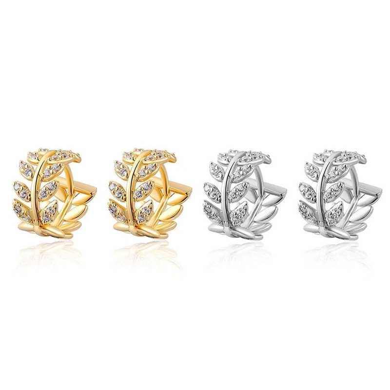 Moda Folha Forma da Cor do Ouro Deixa Pequeno Hoops Huggies Brincos De Argola para As Mulheres de Cristal Brinco Jóias Bijoux