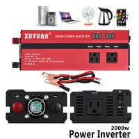 2000 Вт автомобильный инвертор DC 12 В к AC 110 в источник питания автомобильный преобразователь напряжения USB зарядное устройство двойной светод...