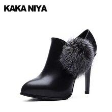 уникальный Размер 4 34 вечеринка черный Указательный палец 2017 высокие каблуки стилет лодыжка ботинки Женская обувь элегантный молния насосы мех средний Весна осень мода Китай китайская новая