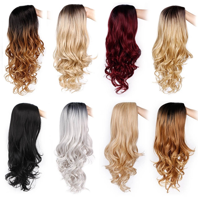 AISI BEAUTY Ombre Long Blonde Brown Wavy Wigs For Women Synthetic Black Gray Red Female Daily Party Heat Resistant False Hair 3