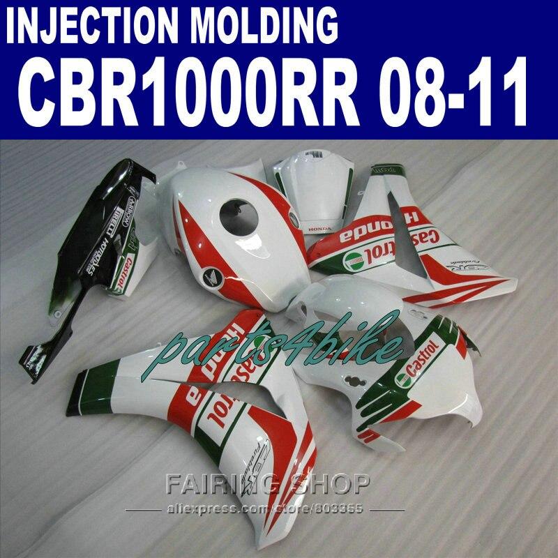 CBR1000RR 2009 2008 Fairing kit For Honda 2010 2011 cbr 1000rr 08 09 10 11 EMS free fairings /red lines&white/ 3