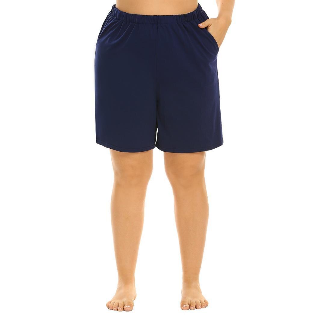 None plus elastic waist pajama soft solid loose women short pant comfort