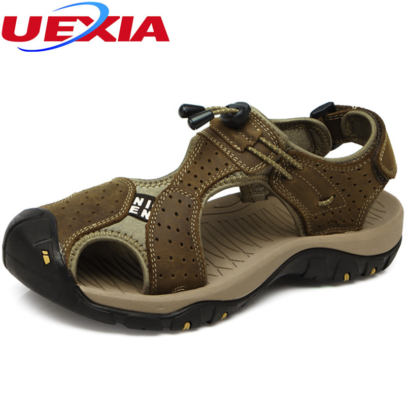 UEXIA Toe Protect Outdoor Casual Driving Beach Men Sandals Flat Quality Summer Leather Soft Sole Men Shoes Plus Size 48 Sandales