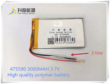 Free shipping 3.7 v lithium polymer battery 3000 mah 475590 mobile power supply tablet 7 'tablet