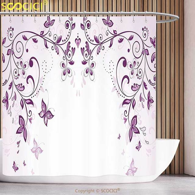 Decorative Shower Curtain Purple Decor Collection Symmetric Victorian Period Inspired Spring Flower With Long Swirls Ceremony