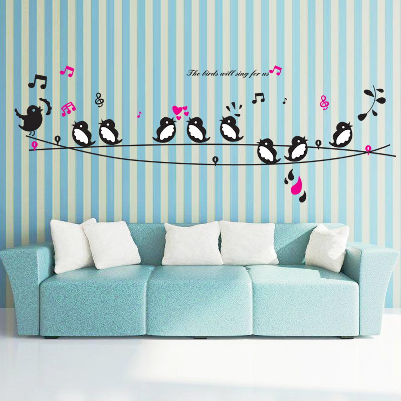 Happy Birds Song Music Wall Stickers Living Room Bedroom TV Sofa Background Decals Home Decor Art Mural Poster