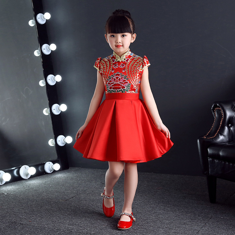 Chinese Dress Traditional Kids Cheongsam Red Children Party Dresses Girl Princess Guzheng Short Sleeve Qipao Costumes Host