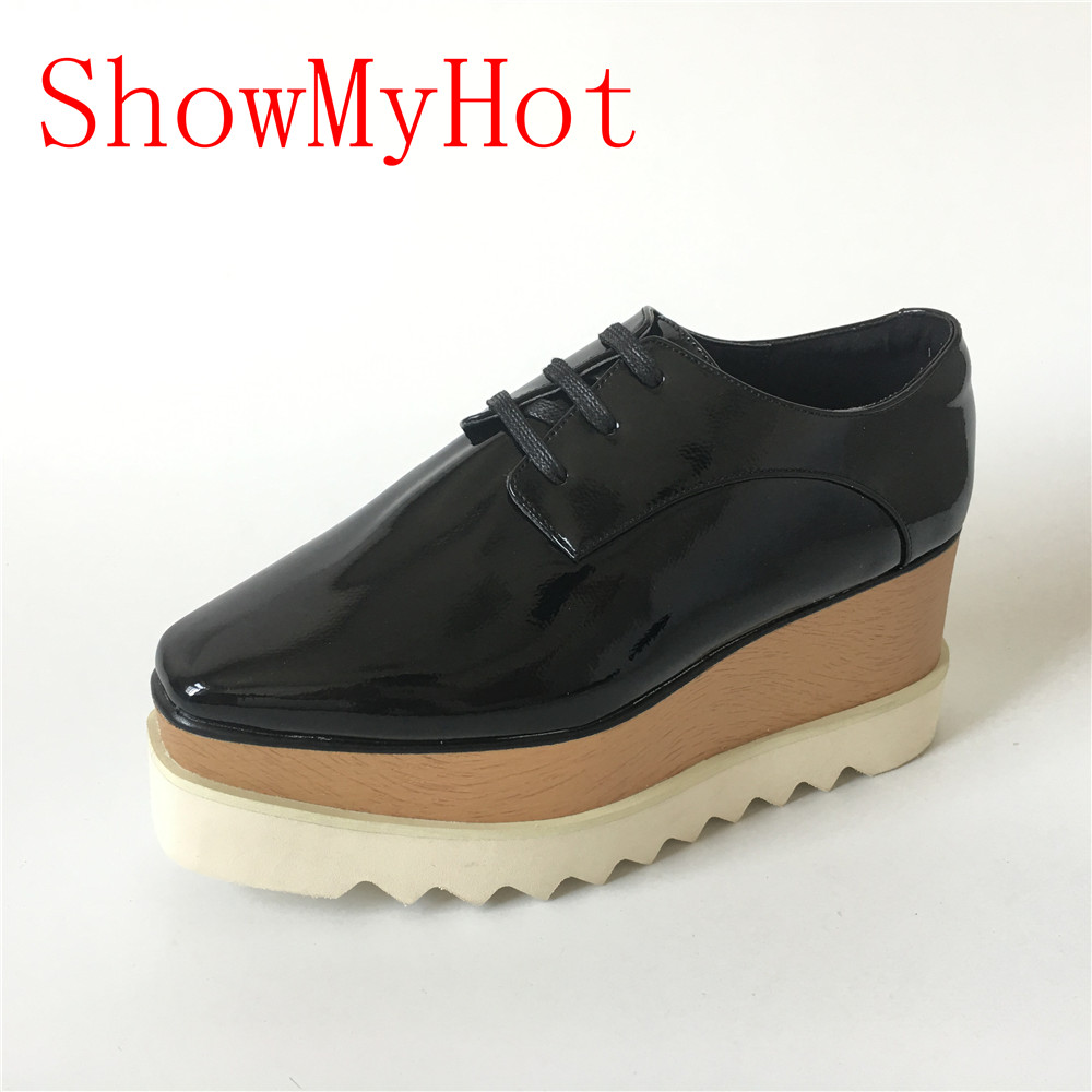 ShowMyHot woman Loafer Stars Women Square Toe lace up Thick Bottom Platform Wedge Shoes For Women
