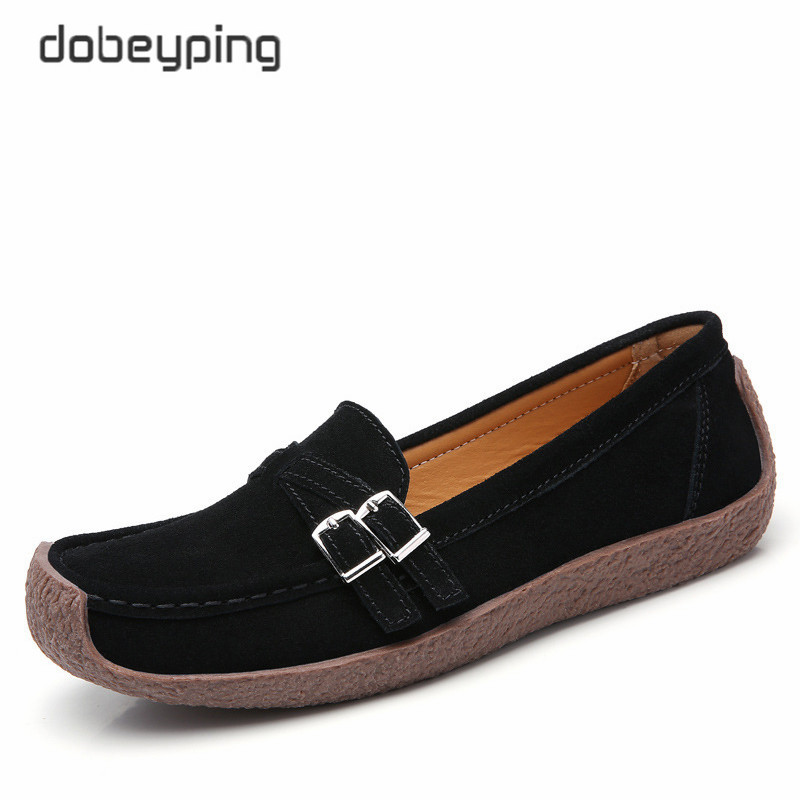 dobeyping New Spring Autumn Woman Shoes Genuine Leather Women Flats Casual Women 39 s Loafers Buckle Female Shoe Low Heel Footwear in Women 39 s Flats from Shoes