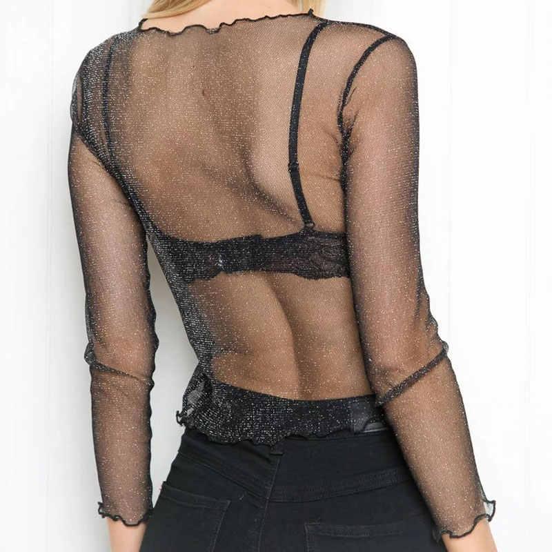 Darcydebie Сексуальная сетчатая Блестящая футболка с длинным рукавом женские весенние прозрачные Клубные Вечерние черные футболки сексуальные тонкие с круглым вырезом короткие топы