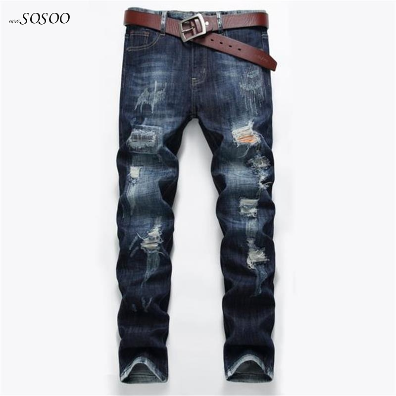 2018 New brand men jeans Movie stars same style knees holes and Patches Fashion Mens Casual jeans men #515