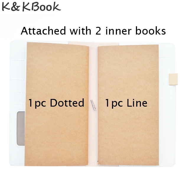 KKBook Cute Leather Travelers Notebook Portable Traveler Journal Dotted Notebooks Diary Planner Stationery Papelaria