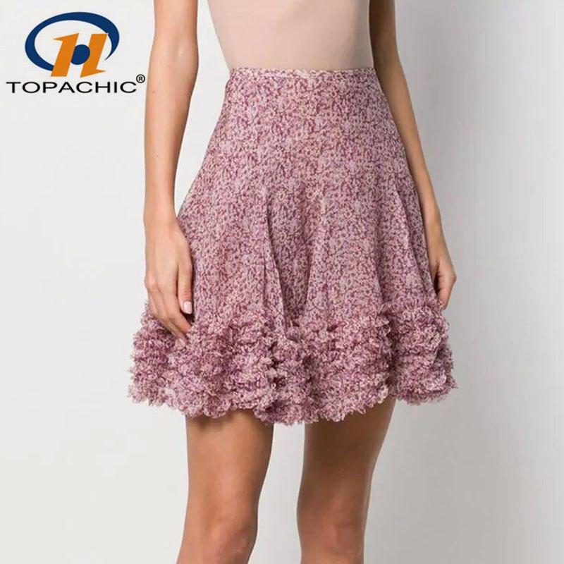 4 24 2019 Summer Bohemian skirt Female 100 SILK Print A Line Ruffles High waist Mini