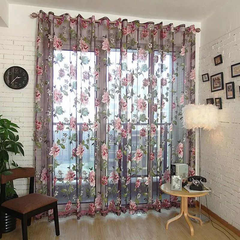 Luxury Jacquard Sheer ผ้าม่านสำหรับห้องนั่งเล่นห้องนอนห้องครัว Tulle สำหรับ Windows Voile ผ้าม่านแผงหน้าต่าง