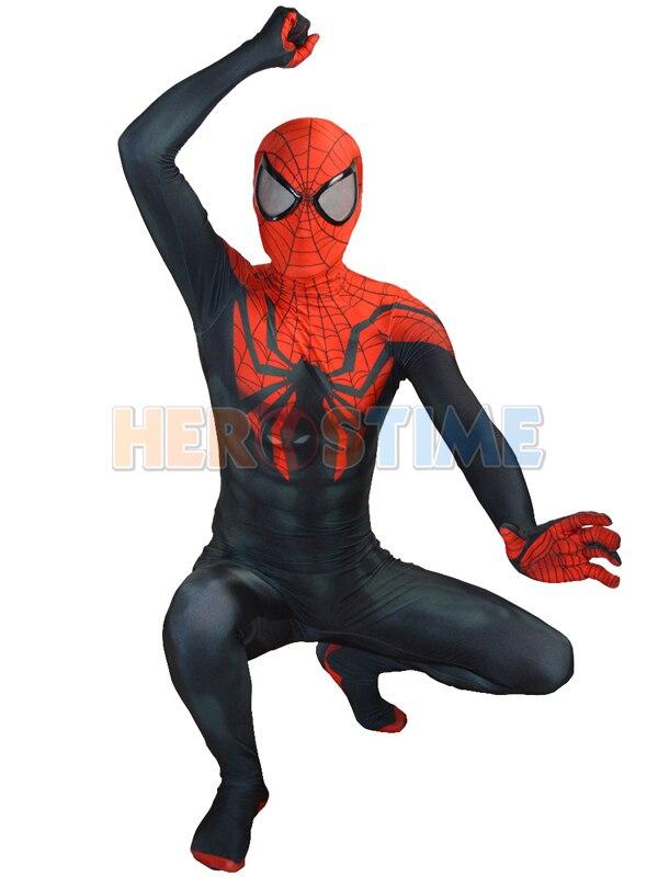 Superior Spider man Costume Black Red Spandex Fullbody Spiderman Superhero Costume For Halloween Cosplay Hot Sale