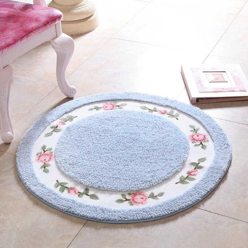 Новый пасторальный коврик для ванной комнаты, Нескользящие Коврики для гостиной, круглое, печатное ковровое покрытие, Ультра-мягкий бутик высокого Мао мужской коврик otomans