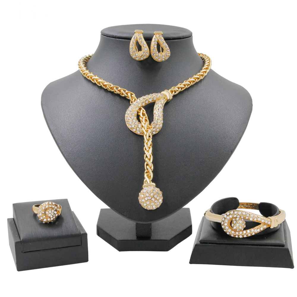 Personalized Creative Design Gold Jewelry Sets Crystal Necklace Ring for Women Earrings Birthday Party Fine Handmade Jewelry