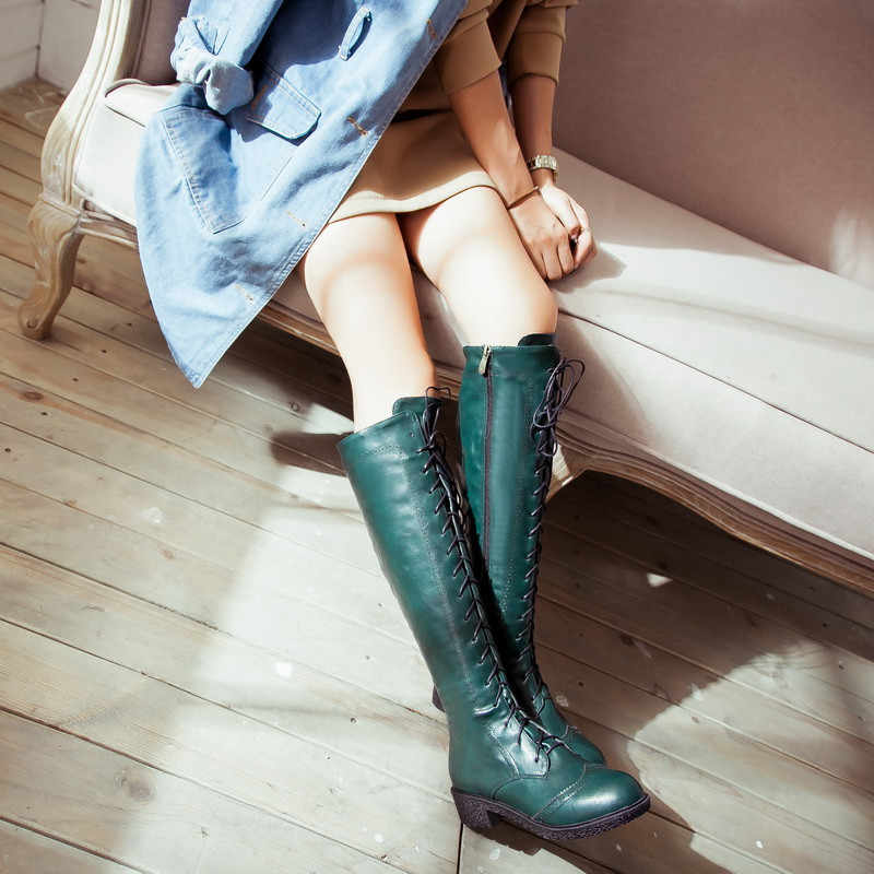 YMECHIC 2018 Retro Carved Brogue Low Chunky Heel Lace Up Womens Knee High Knight Motorcycle Boots Long Botas Green Ladies Shoes